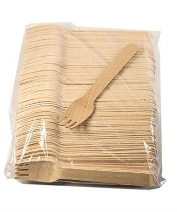 Picture of Disposable Wooden Fork (Pack Of 100 Pcs)