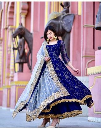 Picture of Beautiful Crepe Long Top Plazzo with Dupatta ~  X-lady-vol-2