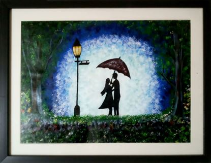 Picture of Romantic Couples in Rainfall Canvas Painting
