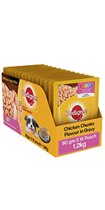 Picture of Pedigree Gravy Adult Dog Food, Chicken and Liver Chunks, 80 g Pouch (Pack of 5)