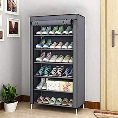 Picture of Opza Shoe Racks for Home 6 Tiers Multi-Purpose Shoe Storage Organizer Cabinet Tower with Iron and Nonwoven Fabric with Zippered Dustproof Cover (Shoe Racks for Home)