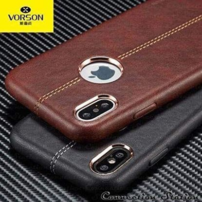 Picture of Reliable Luxury Leather Lexza Series Double Stitch Shell with Metallic Logo Display Vorson Leather Back Cover Case for Apple iPhone X (Brown)