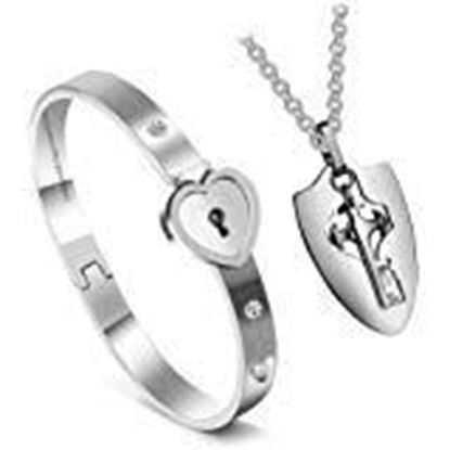 Picture of Saugat Traders Concentric Lock Couple Bracelet - Titanium Steel Bracelet Necklace for Couple