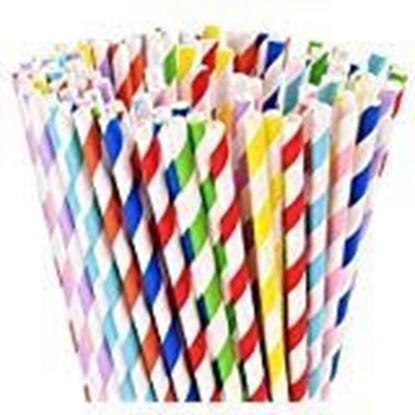 Picture of Medigo® 100 Pack Biodegradable Paper Straws - Different Colors inking Straws - Bulk Paper Strawices, Shakes, Smoothies, Party Supplies Decorations (6mm &8inc)
