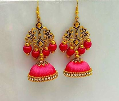 Picture of Harshavardhan jewerelly material Rose Pink Silk Thread Plastic Hanging Type Earring for Women