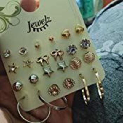 Picture of Jewelz Golden Earring Combo for Women -12 Pair