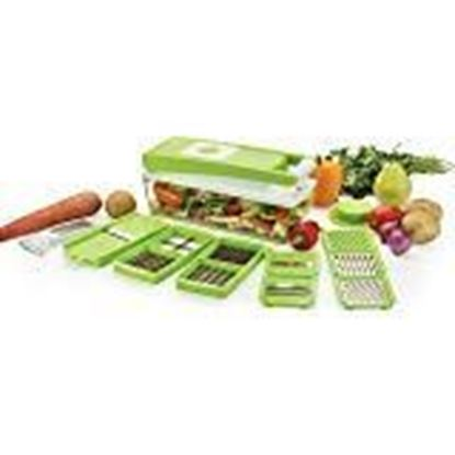 Picture of Dev Mha Ganesh Multi-Purpose Plastic Vegetable and Fruits Grater, Chipser Chopper, Slicer, Cutter and Dicer with 11 Stainless Steel Blades and 1 Pillar