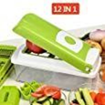 Picture of NOVEL Stainless Steel Vegetable and Fruit Chipser with 11 Blades and 1 Peeler Inside (Green, 2902)