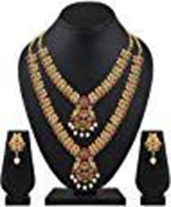 Picture of Shining Diva Fashion Latest Combo Design Pearl Necklace Set for Women Traditional Gold Plated Jewellery Set for Women (Multicolor)