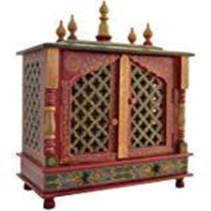 Picture of Kamdhenu art and craft Wooden Temple Pooja Mandir for Home, White and Blue
