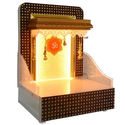 Picture of Designer Wooden Pooja Mandir With LED Lights For Home And Offices