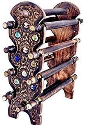 Picture of KESHAV JEE Handmade Wooden Carving Bangle Holder Jewellery Stand for Women, 12 Inches, Brown