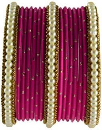 Picture of Chinar Jewels Red Color Bangle Set in Velvet 14 pcs of Churi Set Bollywood Indian Traditional Arrangement Wedding Wear Costume Bangle Set. Chinar Ethnic Bangle can be wore in Wedding and Parties.