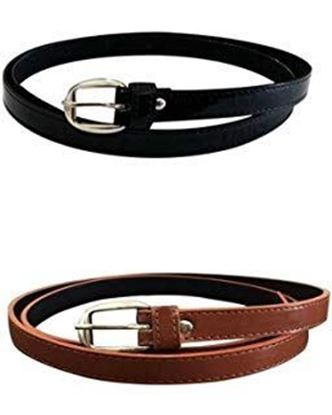 Picture of Dryon Girl's PU Leather Belts Combo of 2 (Brown and White)