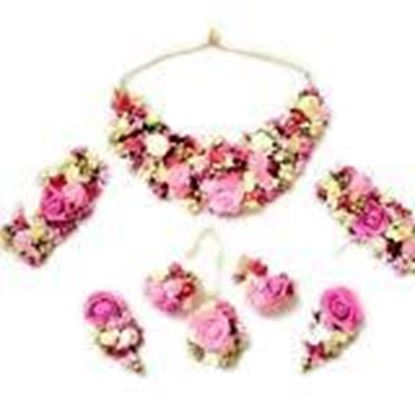 Picture of PARIBHASHA Pink Gota Floral Jewellery Set for Women