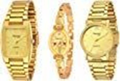 Picture of Imperial Club Combo Pack Of 3 Golden Analogue Watches For Men And Women (Wcm-002)