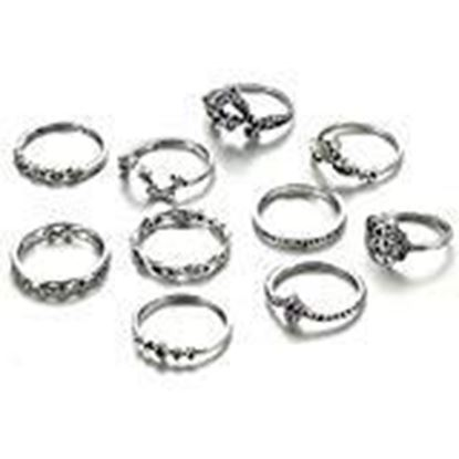 Picture of Shining Diva Fashion 7 Latest Styles Boho Midi Finger 7-14 Pcs/Set Crystal Rings for Women & Girls