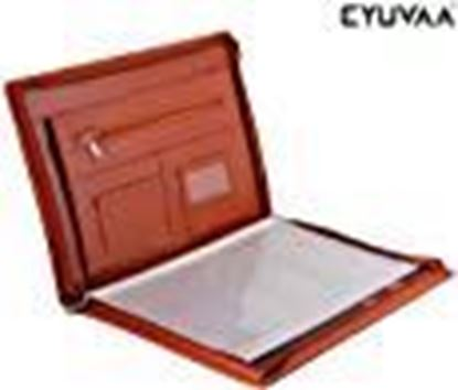 Picture of EYUVAA LABEL Professional Executive Waterproof Leather Certificate and Documents Organizer File with Pockets, Zip Closure and Card Holder -B4, 20 Leafs (Tan)