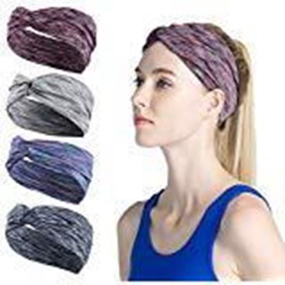 Picture of Fameza Multicolour Fabric Cross Knot Hoops Wide Stripe Cloth Wrapped Bee Animal Headband for Women -4 Pack Hair