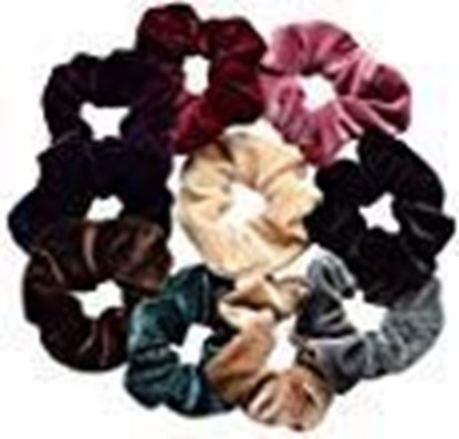 Picture of styling fashion Multicolour Hair Elastic Ponytail Holders Bands for Women (Pack of 12 Velvet Hair Rubber Band)