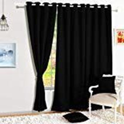 Picture of Home Sizzler Blackout Eyelet Polyester Long Door Curtain, 7ft, Black,1 Piece