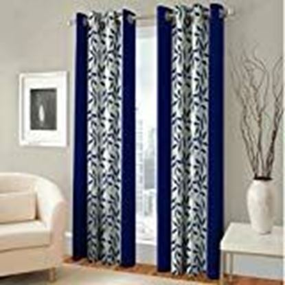 Picture of Panipat Textile Curtain Fancy Floral Eyelet Single 1 Piece Navy Blue Polyester Curtain,Window 5 Feet