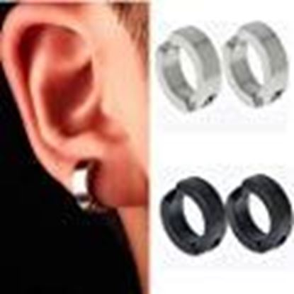 Picture of FIDA Punk Stainless Steel Clip on Ear Stud Hoop Non-Piercing Earrings Retro 2 Pieces for Men