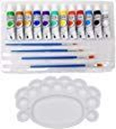 Picture of Kurtzy Acrylic Color Paint 12 Shades with 4 Painting Brushes and Palette, (Each 12ml)