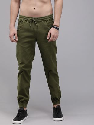 Picture of Men Olive Green Regular Fit Solid Joggers