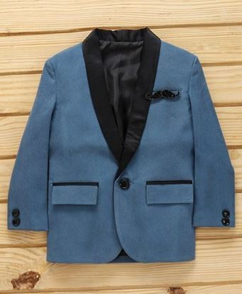 Picture of Dapper Dudes Solid Lapel Collar Full Sleeves Blazer - Grey