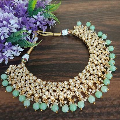 Picture of Sea Green Kundan Necklace Set