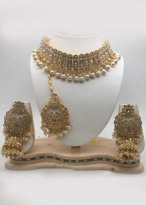 Picture of Pearl Stone Studded White Choker Necklace Set