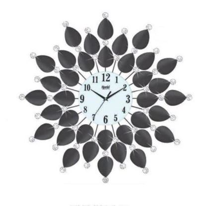 Picture of Black Crystal Leaf Acrylic Wall Clock