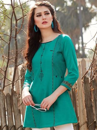 Picture of Green Cotton Embroidered Tunic