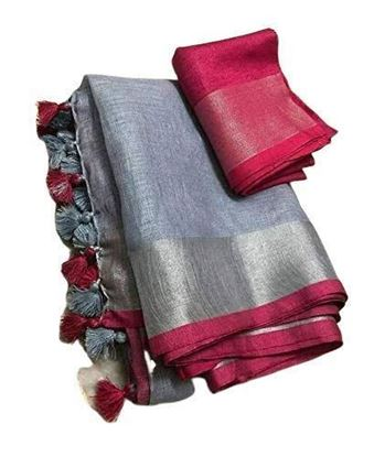 Picture of Women's Bhagalpuri Linen Saree With Running Blouse (ANGS109_Grey)