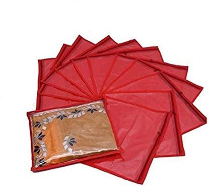 Picture of Plain Single Non-Woven Saree Packaging Storage Clear Cloth Cover/Bags with Plastic Zip (Red) - Pack of 12 Pieces