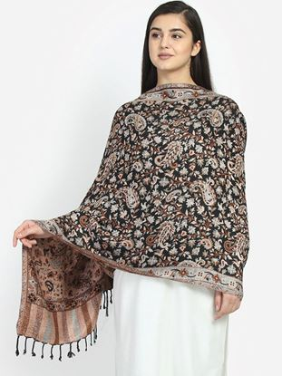 Picture of Women Black & Brown Paisley Patterned Shawl