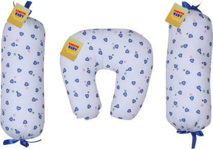 Picture of Cotton Printed 1 U-Shaped Pillow With 2 Lotan(0-3Months) Baby Pillow Pack of 3  (Blue)
