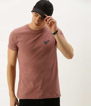 Picture of Solid Men Round Neck Green T-Shirt