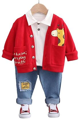 Picture of Boys Cotton and Spandex Full Sleeves Cool Animal Printed Jacket, T-Shirt and Jeans