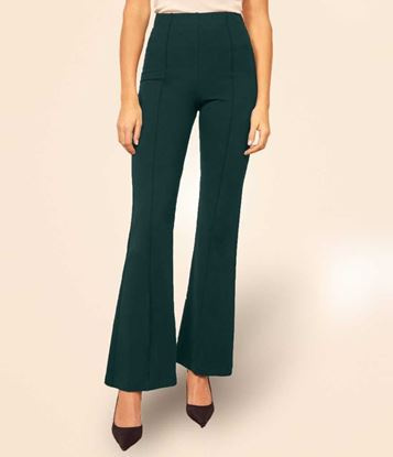 Picture of Regular Fit Women Green Cotton Blend Trousers