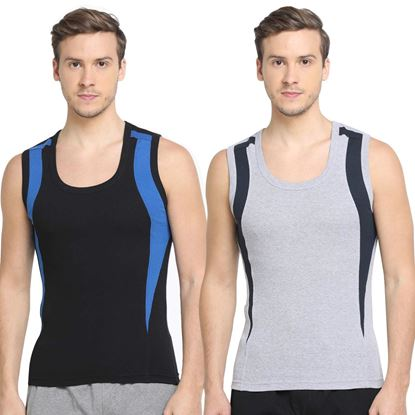 Picture of Dixcy Scott Men's Trendy Fashion Gym Vest body Fit Solid innerwear (Pack of 2)