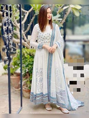 Picture of Women's Soft Rayon Printed White Color Anarkali Kurti with Dupatta