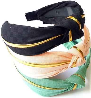 Picture of Hair Accessories Korean Style Solid Fabric Knot with Tape Plastic Hairband Headband for Girls and Woman -multi colour