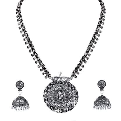 Picture of Silver Oxidized Traditional Latest Fashion Pendant Necklace with Earrings Jewellery Set for Women and Girls
